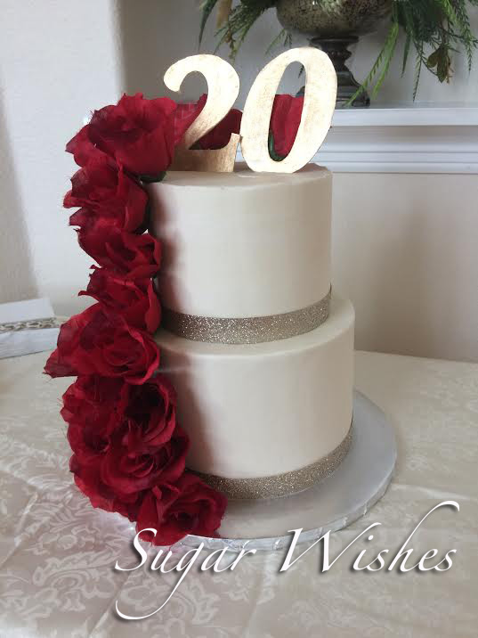 birthday, red roses, 20, fondant, soft gold, buttercream