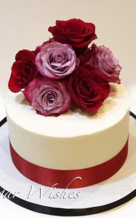 anniversary cake, birthday cake, valentine cake, red roses, hot pink roses, buttercream cake,