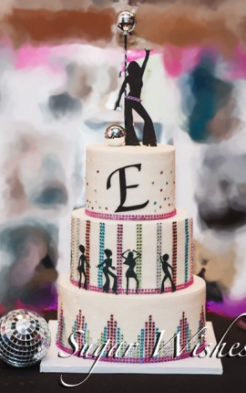 birthday, disco, 40, bling, dancers, fondant, monogram, disco ball, buttercream