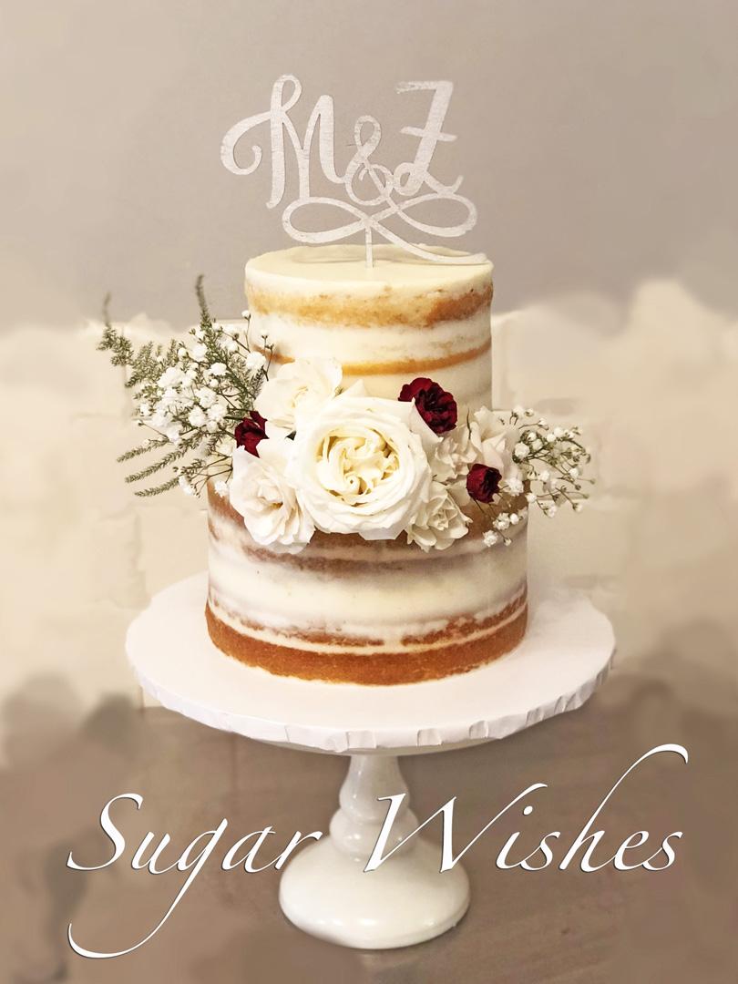 wedding cake, naked wedding cake, fresh flowers, white roses, baby's breath, monogram cake topper