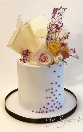 birthday cake, chocolate sculpture, fresh flowers, pink roses, yellow roses, buttercream cake