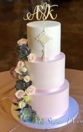 wedding cake, ombre, pink ombre, succulents, roses, buttercream wedding cake, 3 tiers