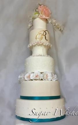 wedding cake, monogram, pink rose, white roses, stencil frosting