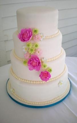 wedding cake, sugar peonies, sugar flowers