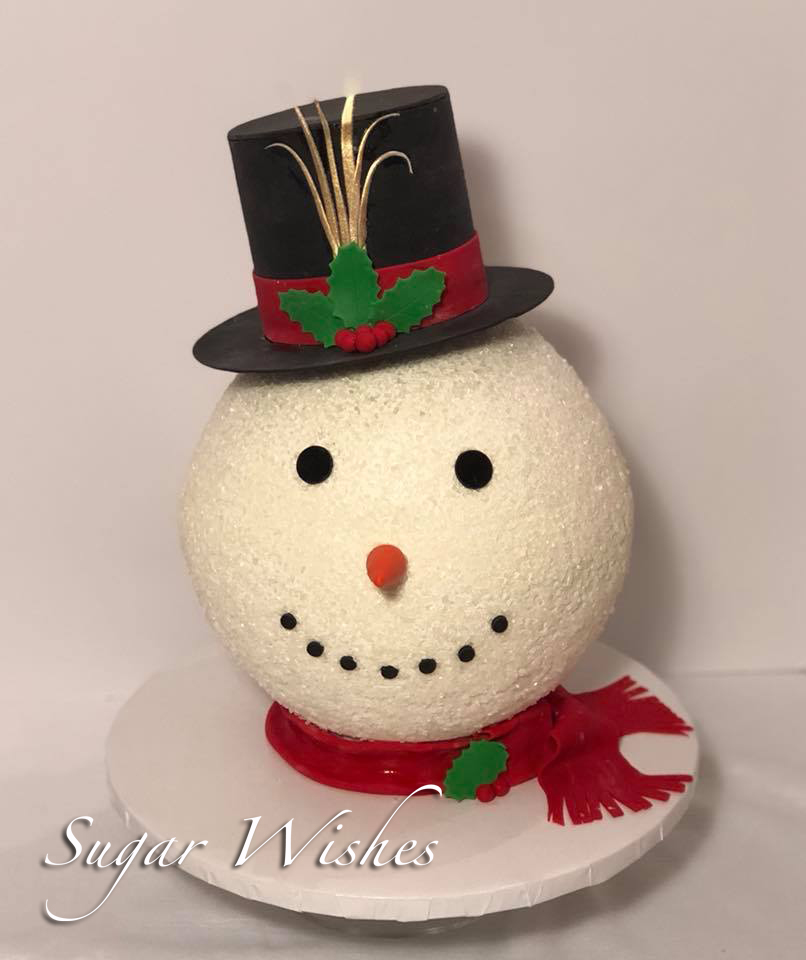 snowman, winter, holiday cake, christmas cake, top hat