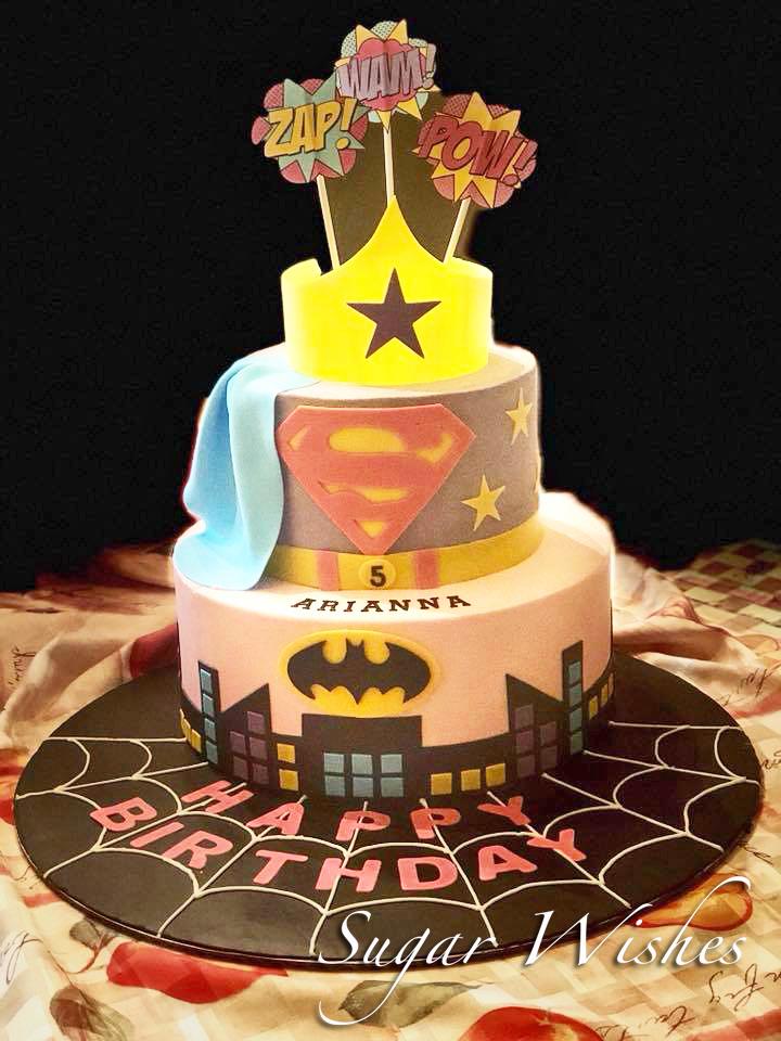 birthday cake, super girl cake, buttercream cake