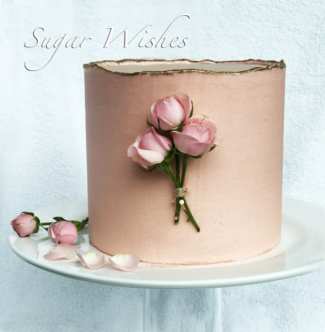 buttercream cake, birthday cake, tea roses, pink roses, pink buttercream