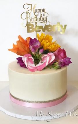 birthday cake, buttercream cake, fresh flowers, summer birthday, sugar flip flops, pink flip flops