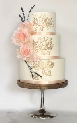 gold stencil, wedding cake, white chocolate ganache, pink roses, pink rose wedding cake, fresh lavender