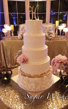wedding, cake, pink flowers, pearls, gold leaves, rosettes, buttercream, edible lace