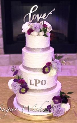 wedding cake, buttercream texture, buttercream wedding cake, fresh flowers, purple roses, love, monogram, gold shimmer