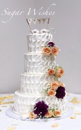 wedding cake, buttercream texture, buttercream wedding cake, fresh flowers, coral roses, purple roses, love