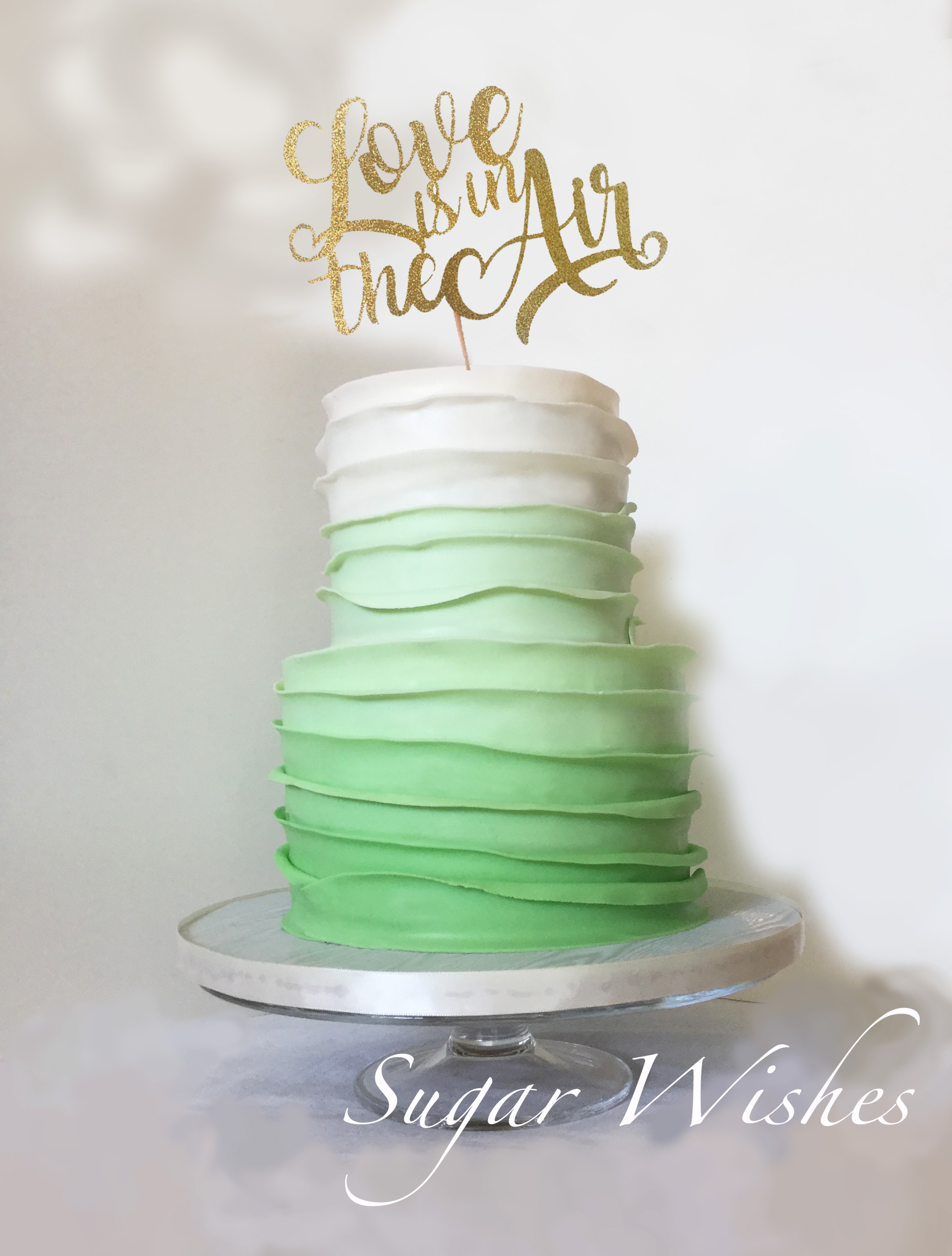 wedding cake, fondant ruffles, love is in the air