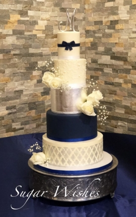 wedding cake, buttercream wedding cake, navy blue, silver, edible silver leaf, white roses, geo pattern, monogram