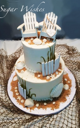 beach wedding, chocolate seashells, gum paste, edible sand, buttercream