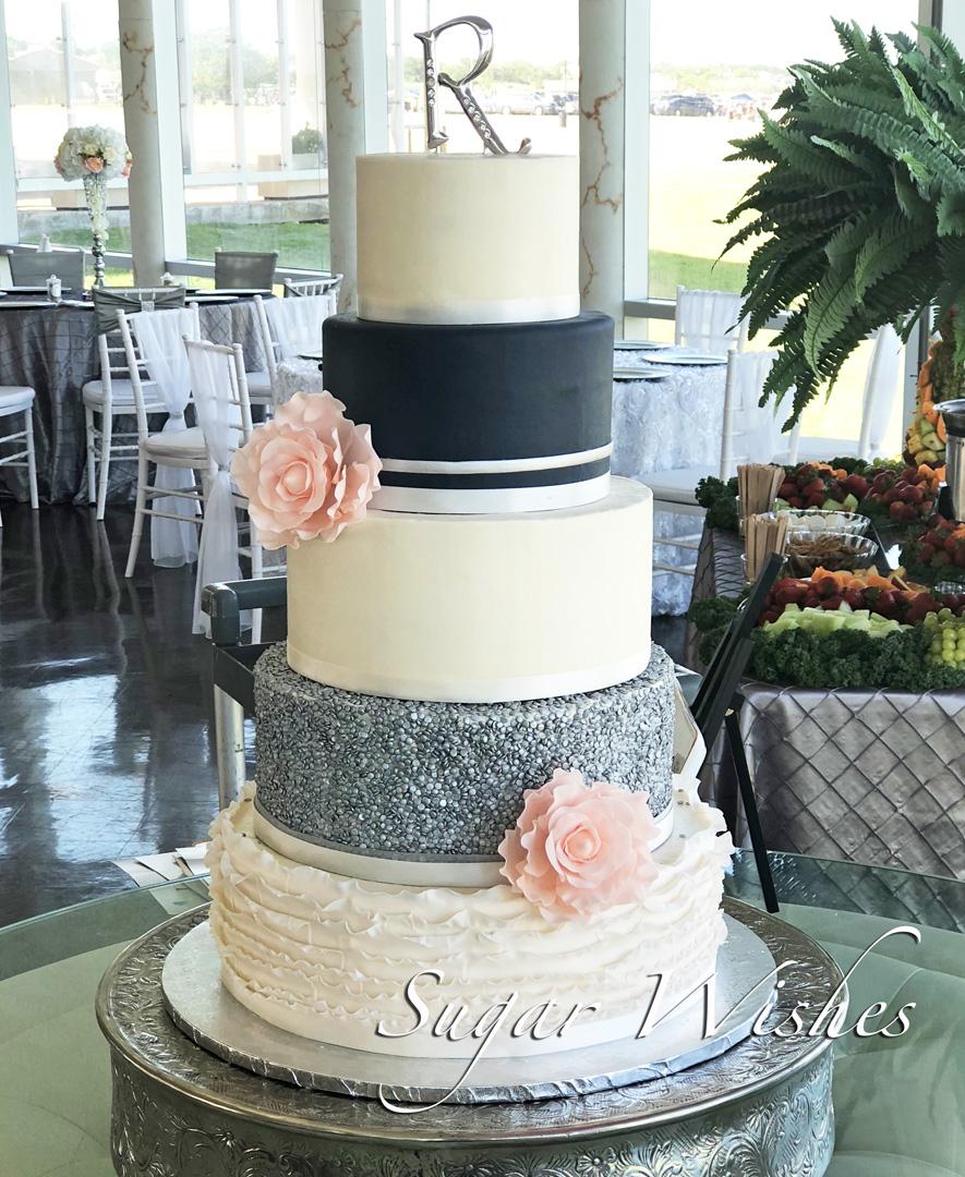 wedding cake, sugar roses, pink roses, ruffles, silver sequins, navy, monogram, 5 tier