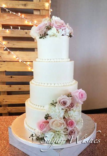wedding, pink roses, 4 tiers, ivory, white, buttercream, floral