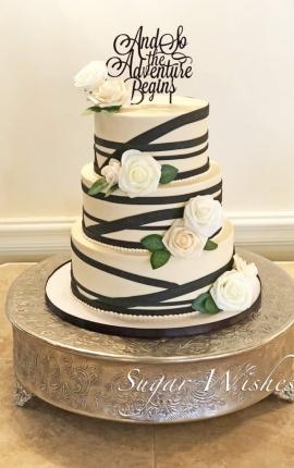 wedding cake, champagne buttercream, black stripes, white roses, blush roses, 3 tier