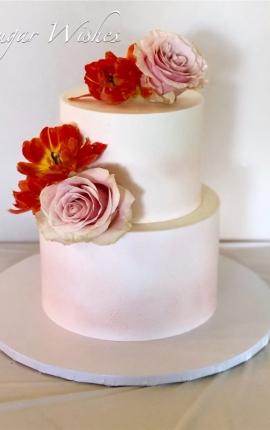 bridal shower cake, birthday, blush roses, blush ombre, white chocolate ganache
