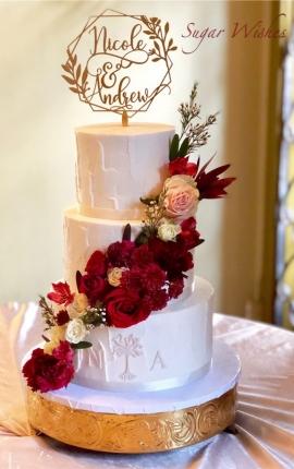 wedding cake, buttercream texture, buttercream wedding cake, fresh flowers, red roses, pink roses, white roses, cake topper, 3 tiers, monogram