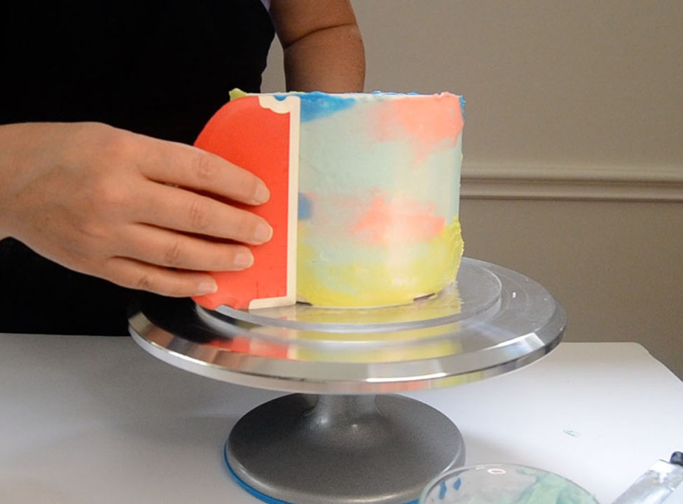 2nd pic of scraping with 4 colors of buttercream